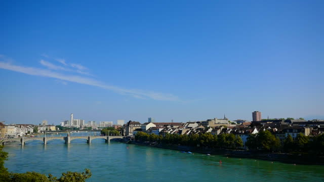 cityscape and rhine river in basel - ヨーロッパ点の映像素材/bロール