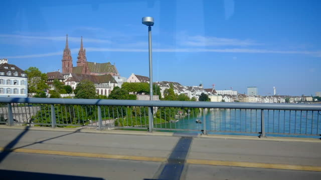 cityscape and rhine river in basel - river rhine stock videos & royalty-free footage