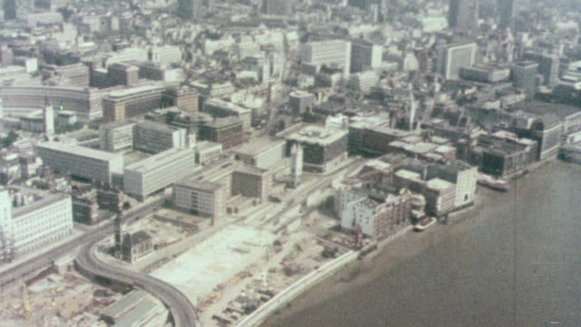 1976 aerial cityscape and river thames / london, england united kingdom - 1976 stock videos and b-roll footage