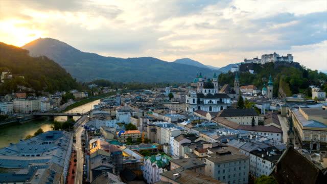Cityscape and Salzach river