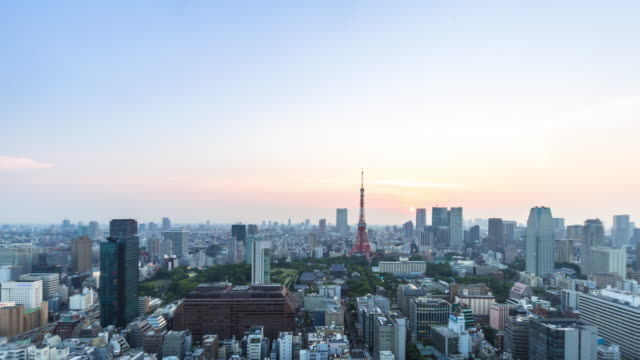 cityscape and skyline of downtown near tokyo tower at sunrise. - tokyo japan stock videos and b-roll footage