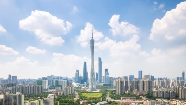 cityscape and skyline of guangzhou. timelapse - guangzhou stock videos & royalty-free footage