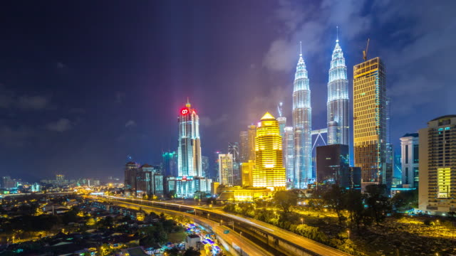 cityscape and skyline of kuala lumpur at night. time lapse