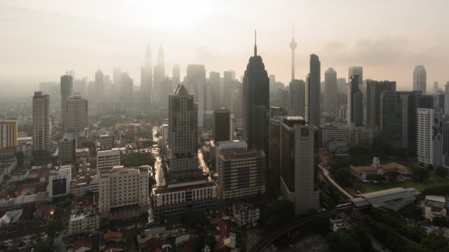Cityscape and skyline of kuala lumpur at sunrise, Time lapse panning right 4k.