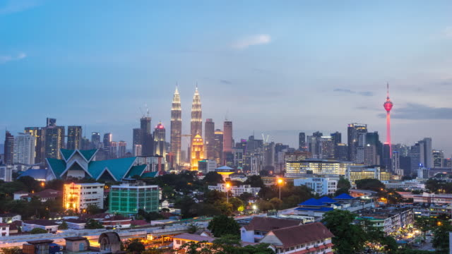 cityscape and skyline of kuala lumpur at sunset. time lapse