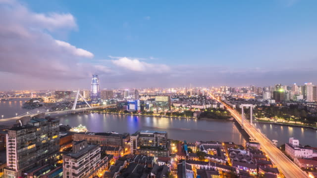 stockvideo's en b-roll-footage met skyline en skyline van moderne stad. time-lapse - ningbo