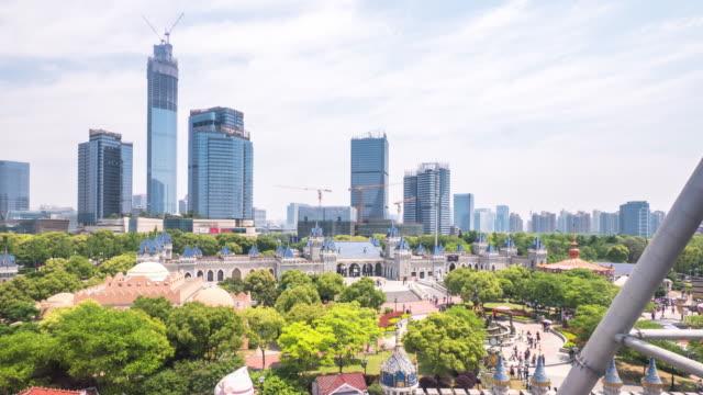 cityscape and skyline of suzhou new city in cloud sky. timelapse 4k hyperlapse