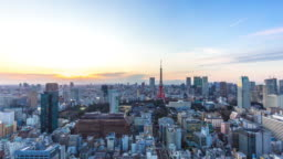 cityscape and skyline of tokyo at sunset. time lapse
