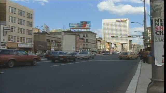 cityscape and traffic as seen from broad street in newark new jersey in 1986 - 1986 stock videos and b-roll footage