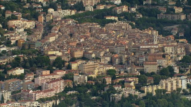 vídeos de stock, filmes e b-roll de aerial cityscape and traffic/ grasse, france - frança