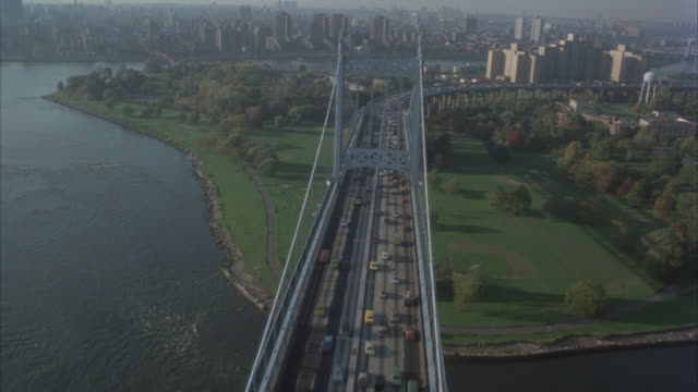 aerial, cityscape and traffic on bridges, new york city, new york, usa  - bronx new york stock videos and b-roll footage