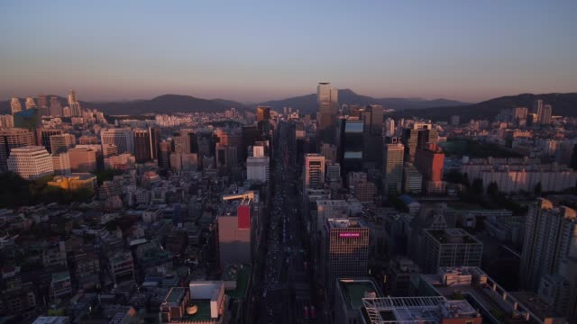 cityscape around gangnam station and nonhyeon station, seoul - morgendämmerung stock-videos und b-roll-filmmaterial