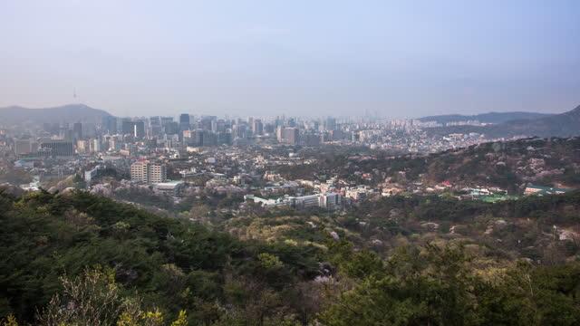 cityscape around gyeongbokgung palace / jongno-gu, seoul, south korea - 青々とした点の映像素材/bロール