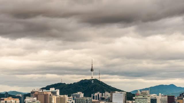 cityscape around n seoul tower / jung-gu, seoul, south korea - turmspitze stock-videos und b-roll-filmmaterial