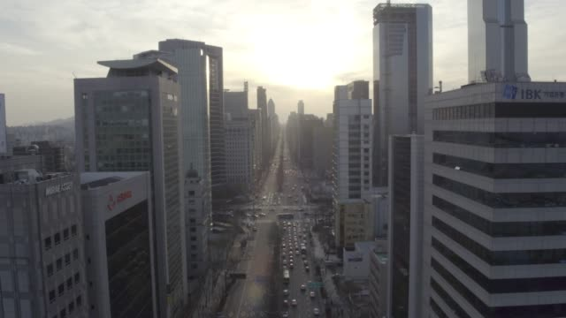 cityscape around samseong station, seoul, south korea - smog stock videos & royalty-free footage