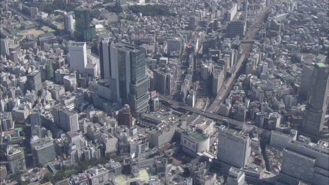 aerial, cityscape around shibuya, tokyo - shibuya station stock videos and b-roll footage