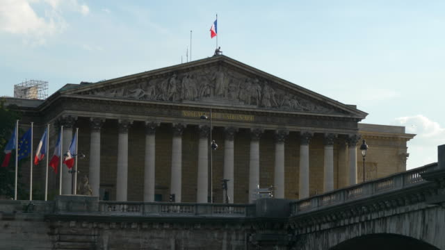 cityscape - assemblee nationale in paris - france stock videos & royalty-free footage