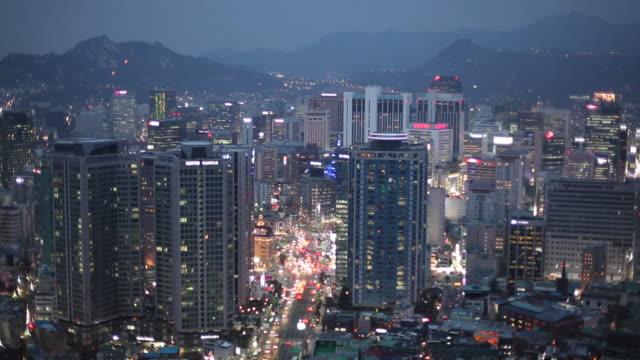 ws ha cityscape at dusk / seoul, south korea - seoul stock videos & royalty-free footage