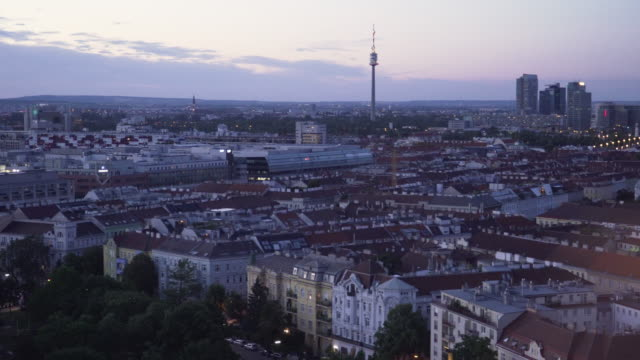 cityscape at dust from view point of viennese giant wa - prater park stock videos & royalty-free footage
