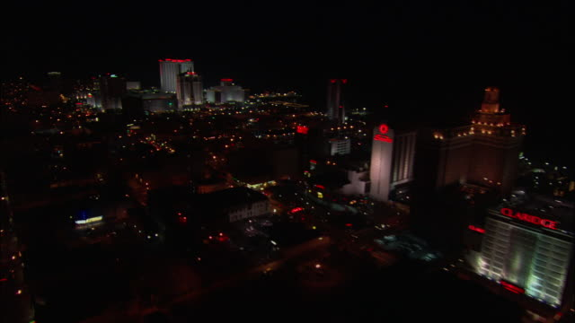 aerial, cityscape at night, atlantic city, new jersey, usa - western script stock videos & royalty-free footage