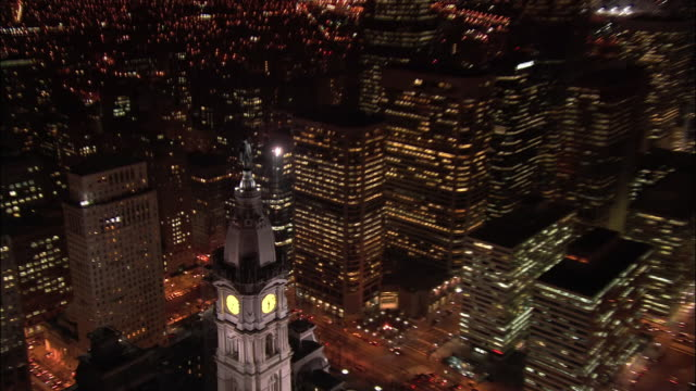 aerial, cityscape at night, philadelphia, pennsylvania, usa - william penn stock videos and b-roll footage