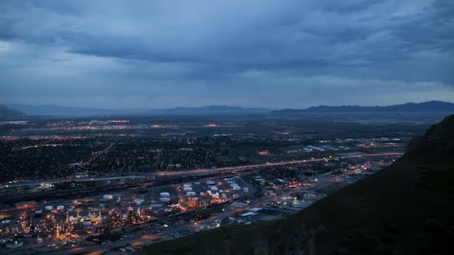 T/L WS HA PAN Cityscape at night with overcast sky / Salt Lake City, Utah, USA