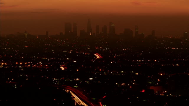 T/L, HA, WS, Cityscape at sunrise, Los Angeles, California, USA