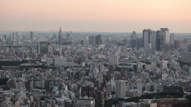 ws ha cityscape at sunrise / tokyo, japan - horizont über land stock-videos und b-roll-filmmaterial
