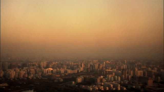 ws, ha, pan, cityscape at sunset, beijing, china - panoramic stock videos & royalty-free footage