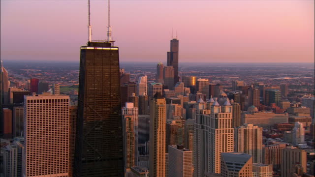 aerial, cityscape at sunset, chicago, illinois, usa - willis tower stock videos and b-roll footage