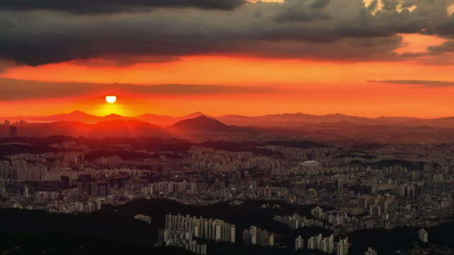cityscape at sunset in gwangmyeong-si, gyeonggi-do province - kyonggi do province stock videos and b-roll footage
