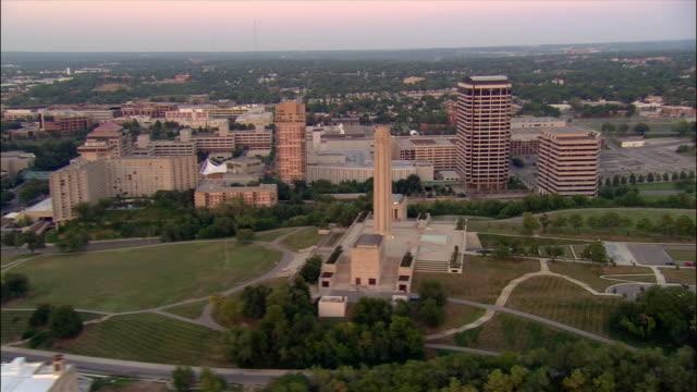 AERIAL, cityscape at sunset, Liberty Memorial, Kansas City, Missouri, USA