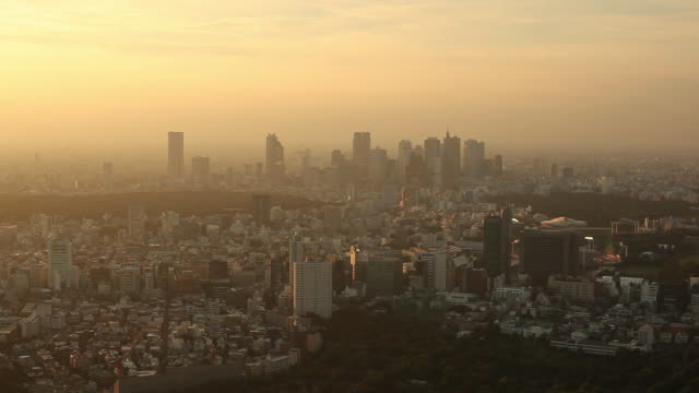 ws ha cityscape at sunset / tokyo, japan - horizon over land stock videos & royalty-free footage