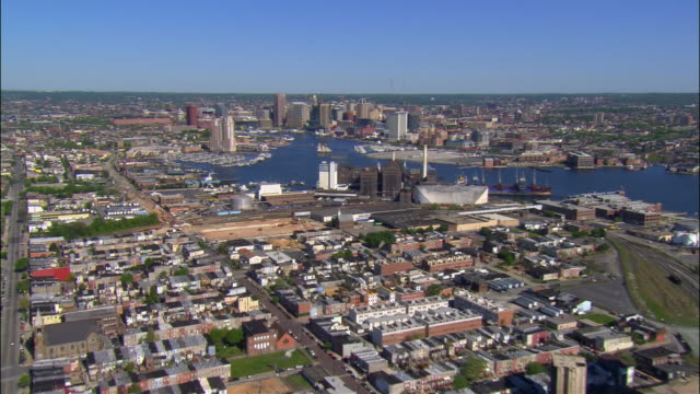 AERIAL, cityscape, Baltimore, Maryland, USA