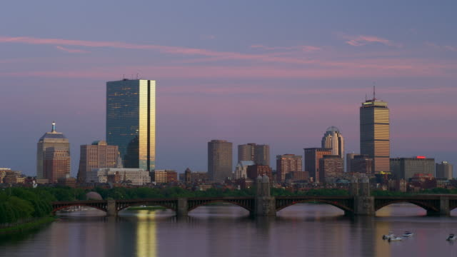 WS, T/L, cityscape behind Longfellow bridge, dusk till night, Boston, Massachusetts, USA