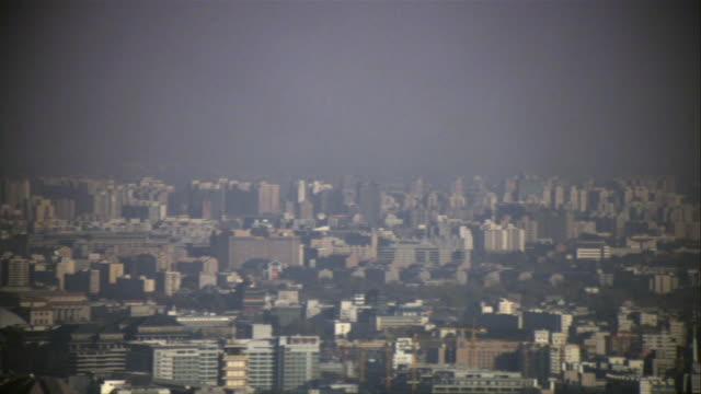 ws, pan, cityscape, beijing, china - スモッグ点の映像素材/bロール