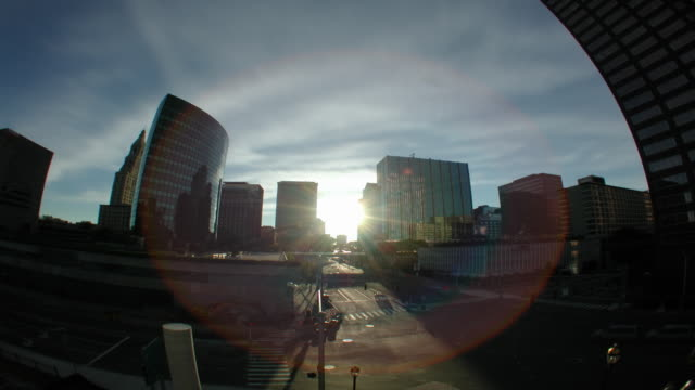 Cityscape downtown timelapse sunset