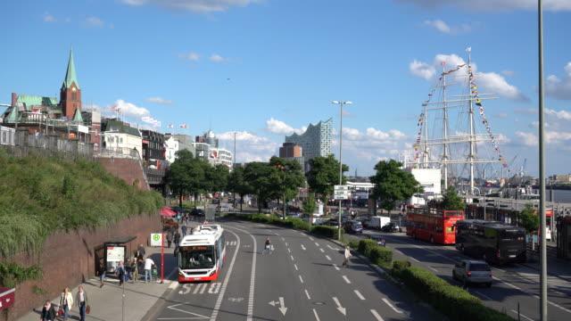 Cityscape from the Landungsbrücken, Elbphilharmonie opera house in background
