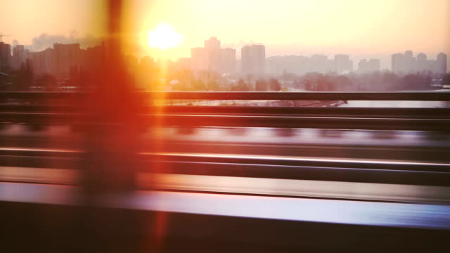 cityscape from the train window - morning stock videos & royalty-free footage