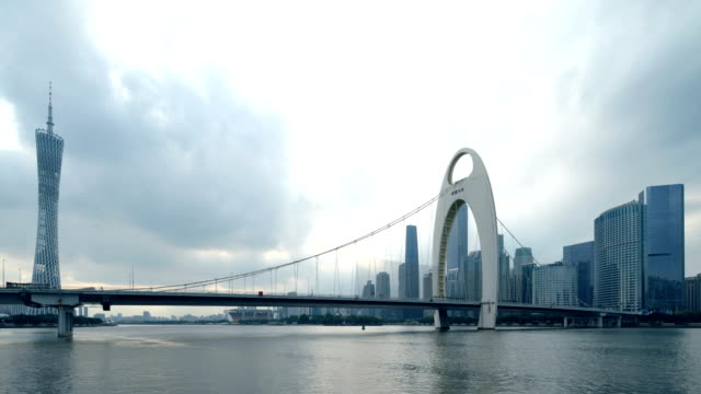 cityscape in dramatic sky - suspension bridge stock videos & royalty-free footage