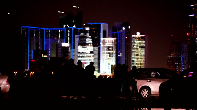 Cityscape in the night. Cars standing on the coast