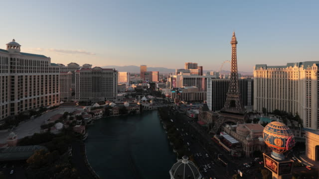 4K Cityscape Las Vegas Skyline Day to Night Time Lapse