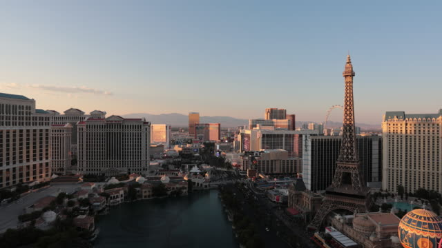 4K Cityscape Las Vegas Skyline Day to Night Time Lapse