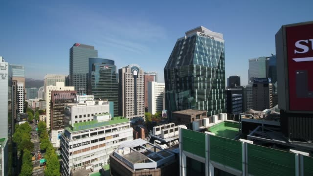 cityscape near bosingak pavilion (jonggak station), seoul - town hall stock videos & royalty-free footage