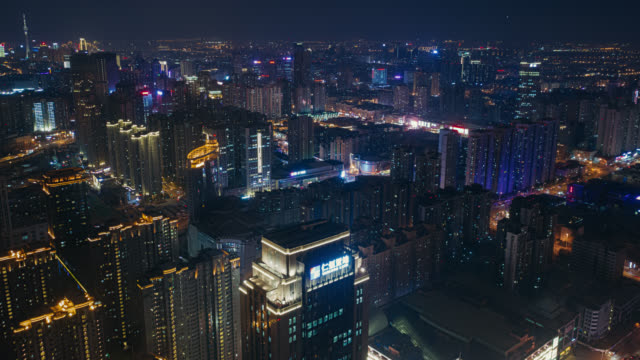 cityscape night aerial view hyperlapse - intelligence stock videos & royalty-free footage