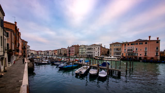 Cityscape of a floating city and anchoring Gondola in Venice