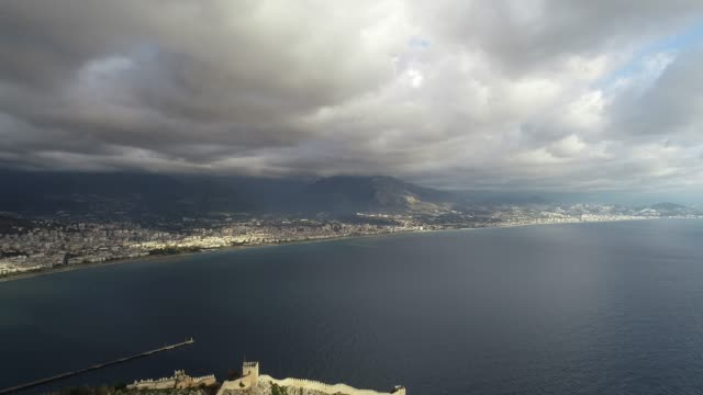 cityscape of alanya aerial view - mediterranean turkey stock videos and b-roll footage