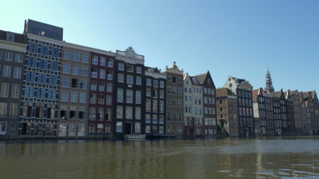 cityscape of amsterdam from the boat - canal stock videos & royalty-free footage