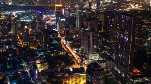 Cityscape of Bangkok City at Night, Time Lapse Video
