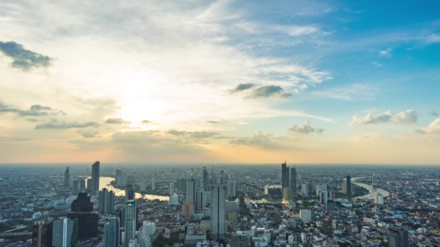 cityscape of bangkok city with beautiful curve of river, thailand, time lapse video - bangkok stock videos & royalty-free footage